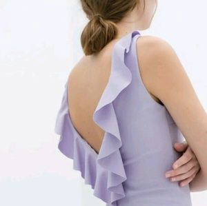 Zara Sheath Dress Ruffle Back Lavender